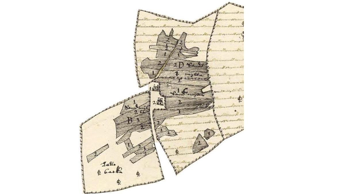 Utsnitt ur en gammal handritad karta.