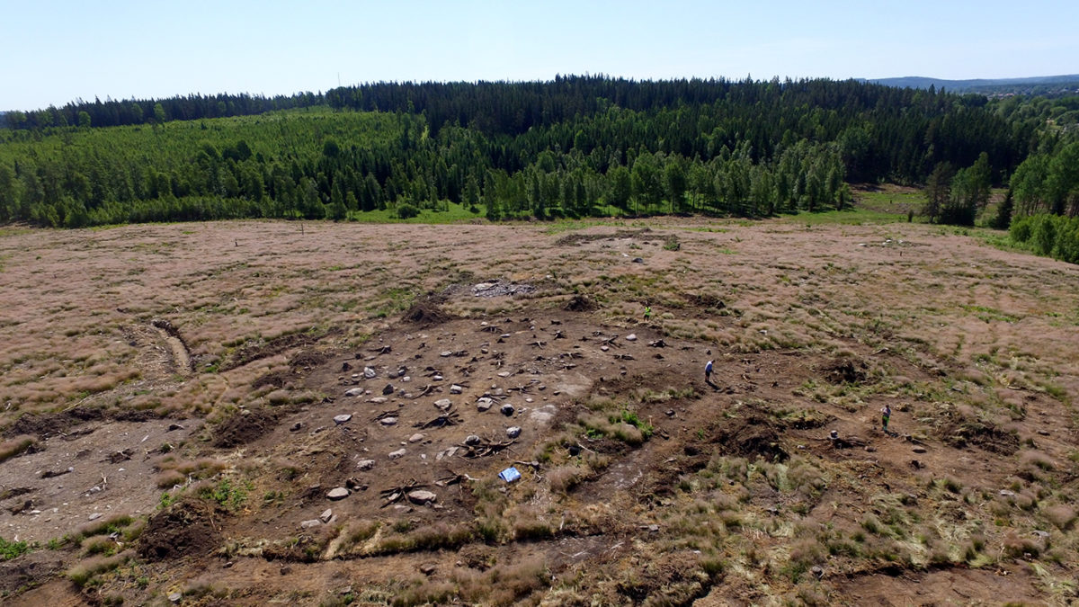 Drönarbild av utgrävningsområdet.