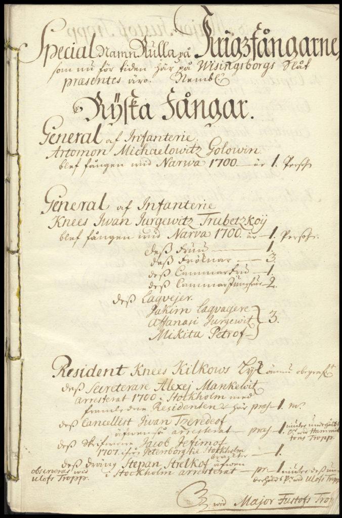 Fångrullans titelblad, gulnat papper, med snirklig handstil bekriver de viktigaste fångarna på slottet.