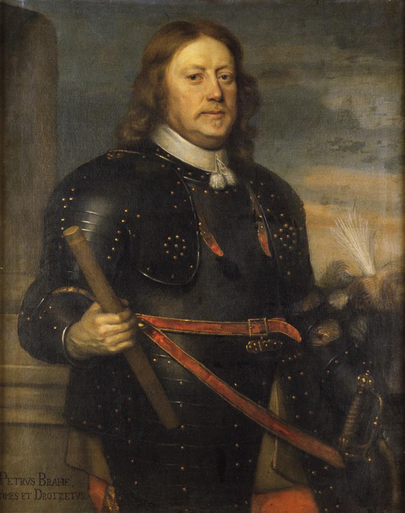 Porträtt av Per Brahe, en allvarlig man med halvlångt hår, iklädd mörk rustning.