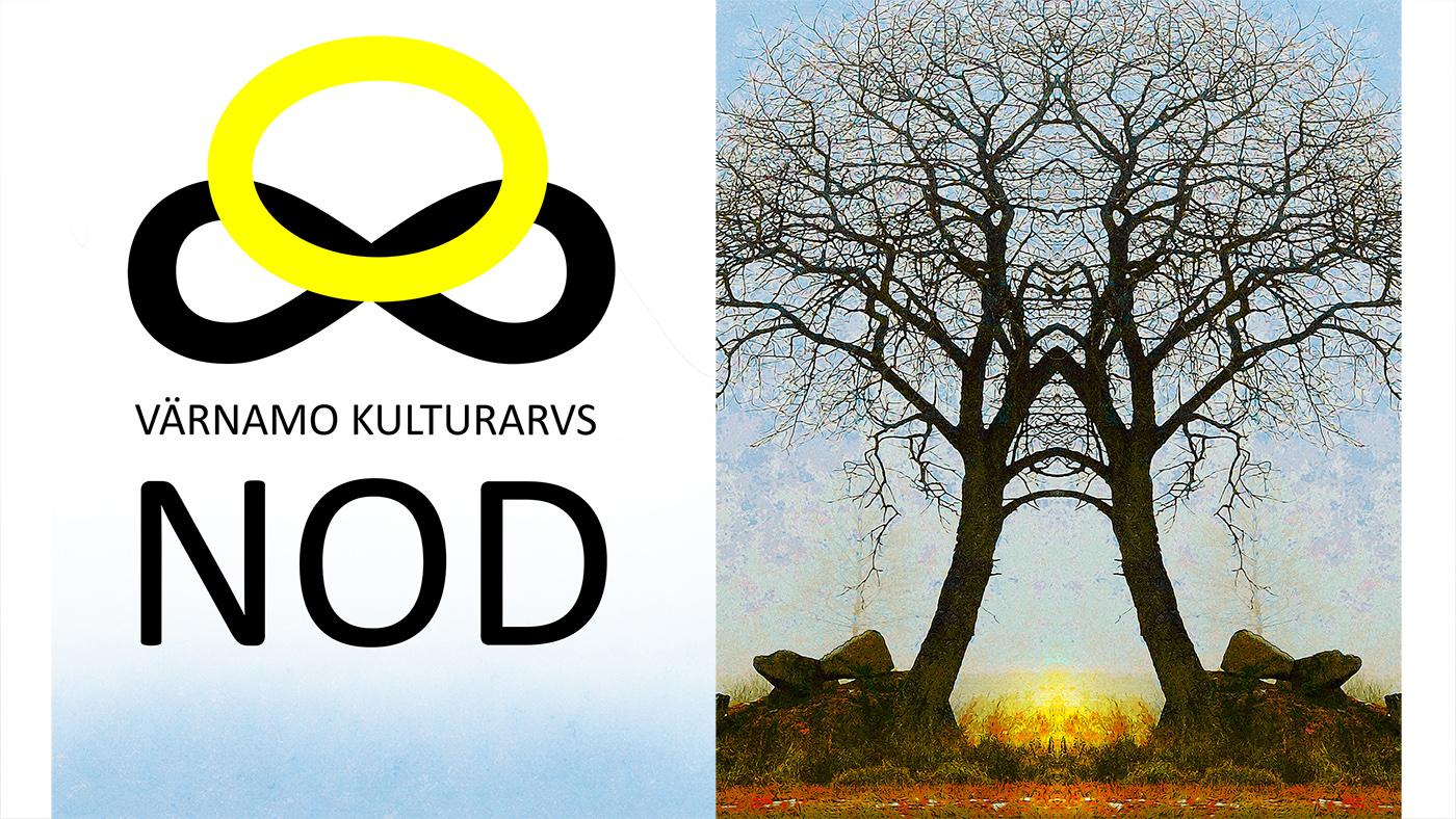 En bild på ett träd och logotypen för Värnamo Kulturarvsnod