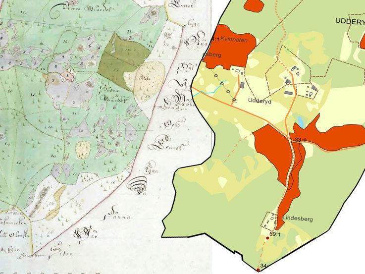 Karta över Vätterbygden 1728 och nutid