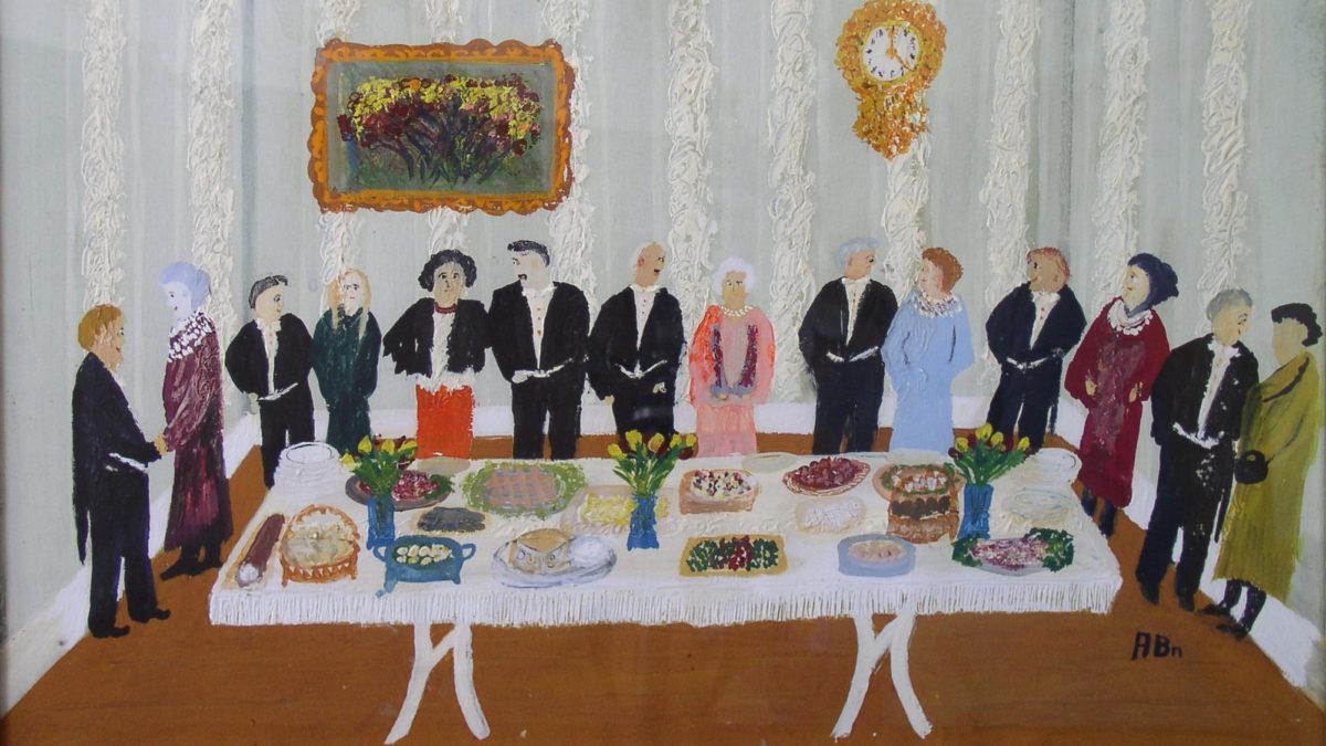 En målning av ett stort uppdukat bord och en stor samling människor
