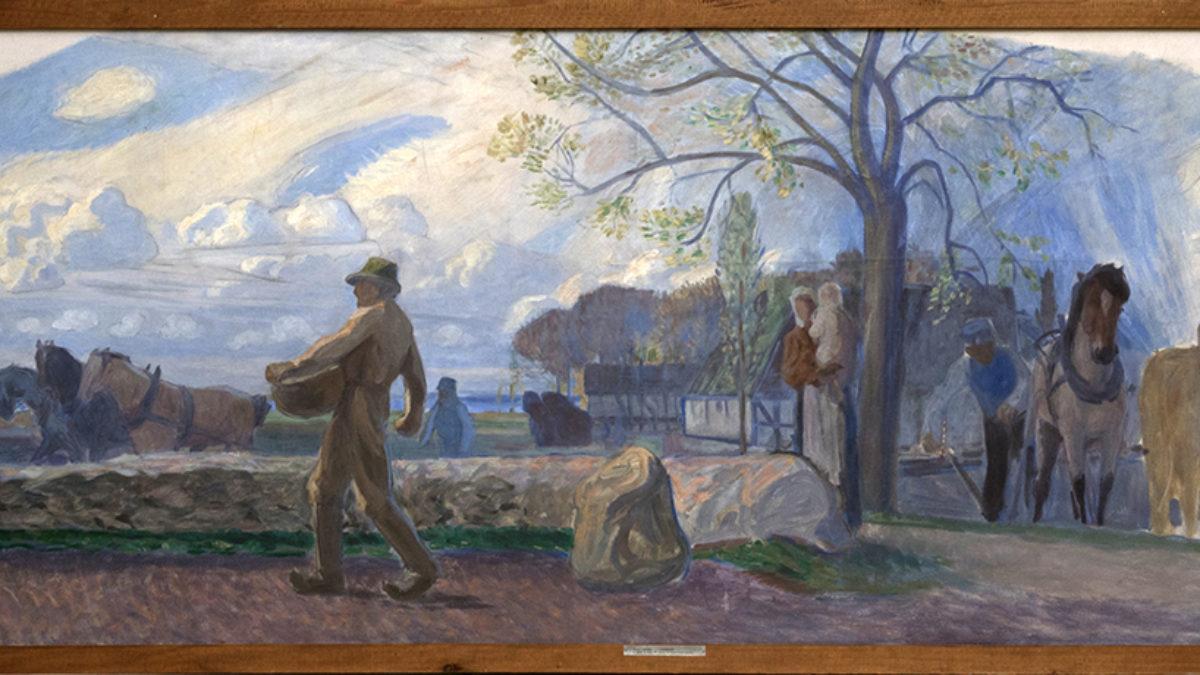 En målning i form av en vid halvcirkel som föreställer jordbrukare som arbetar. Beskuren.