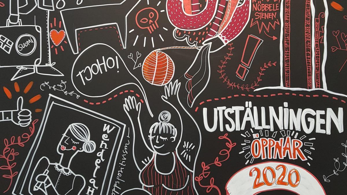 illustration, där mängder av figurer och symboler i vitt, rosa och orange syns på en svart bakgrund.