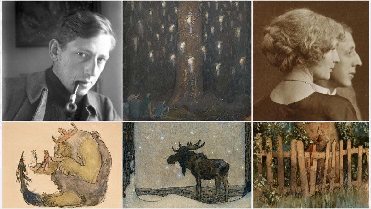 Ett collage av foton på John och Ester Bauer samt flera av John Bauers verk