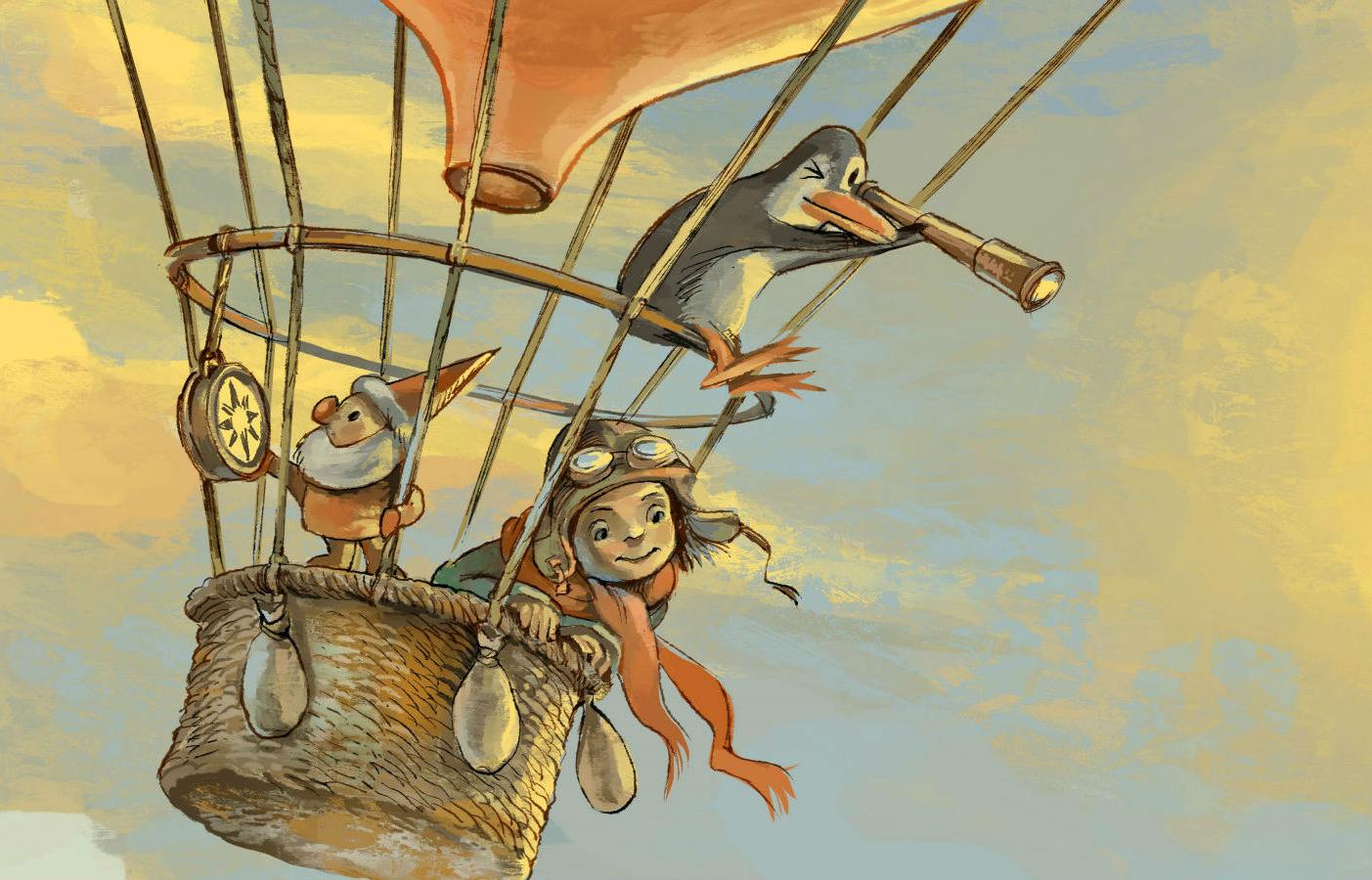 En tecknad bild med en flicka, en pingvin och en tomte i en luftballong som flyger