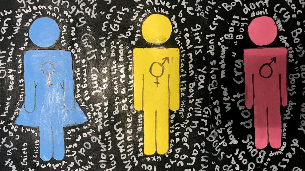 Tre figurer i klara färger