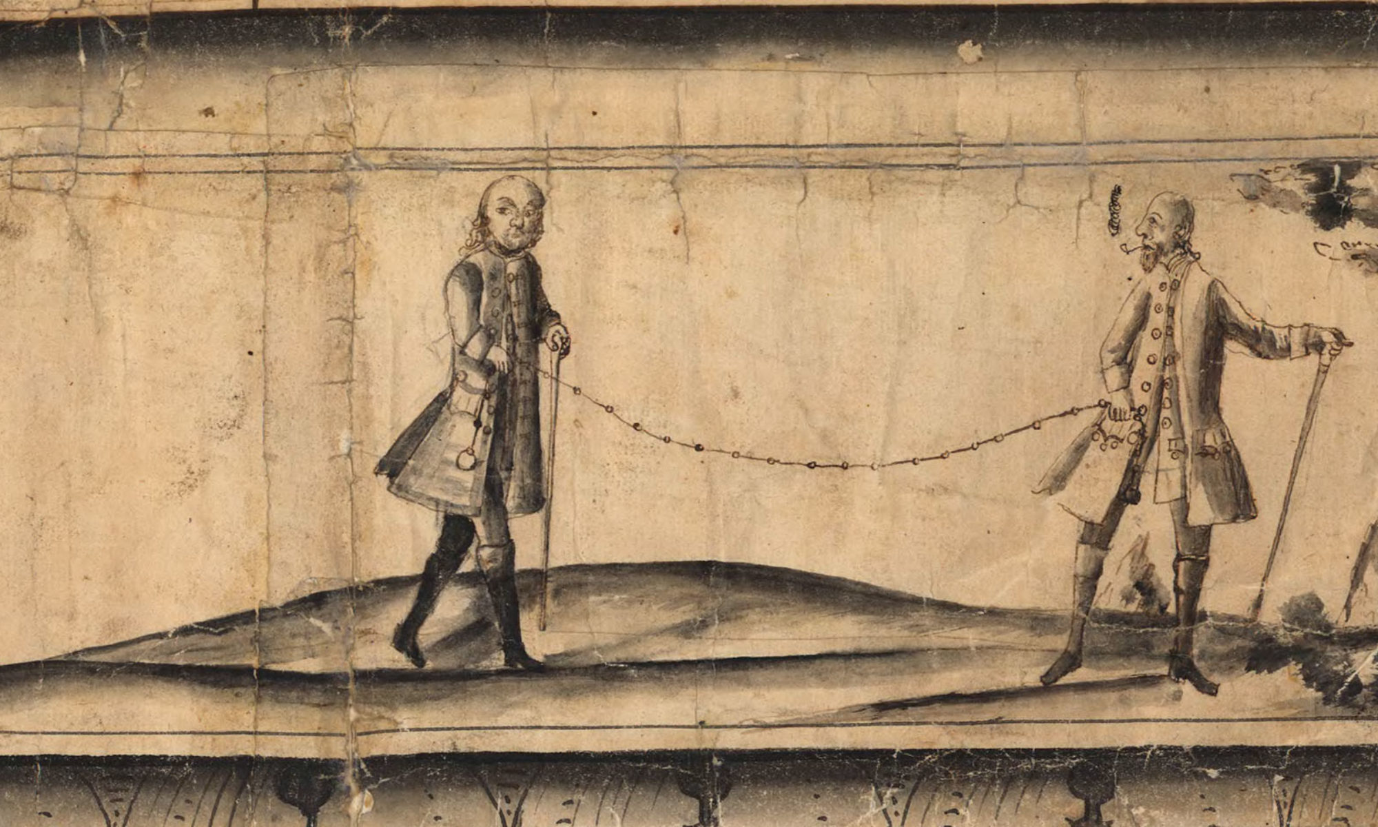 TVå män som håller en lant,mäterikedja.