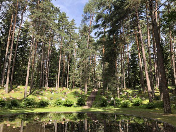 Skogskyrkogård med vattenspegel och tallar