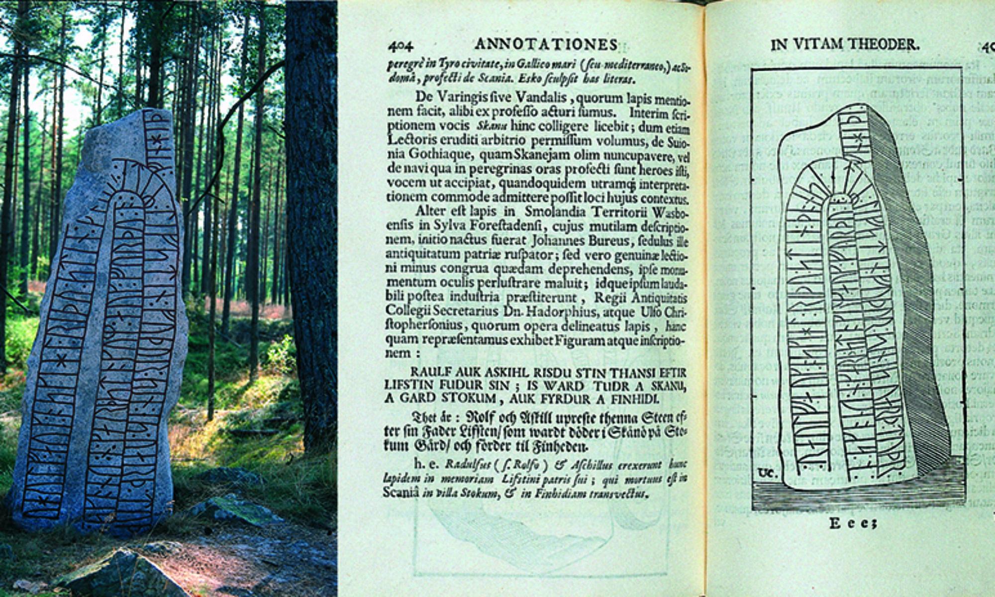 En runsten ute i skogen och ett bokuppslag med en tecknad runsten
