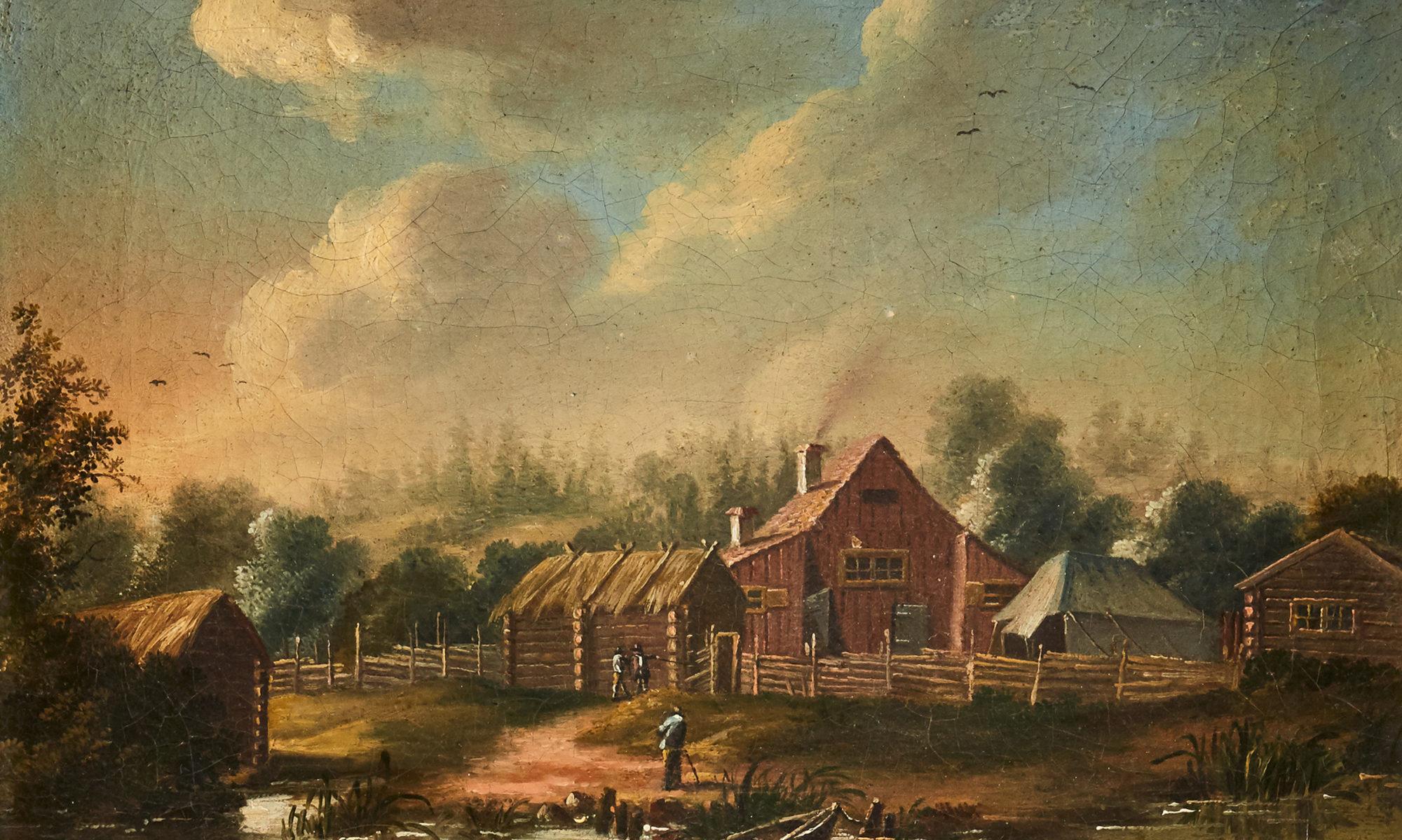 En vy över en gård, målad i olja av Pehr Hillerström på 1700-talet
