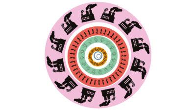 En grafisk snurra med fabriker, människor och andra symboler, mot rundlar i rosa, rött, grönt