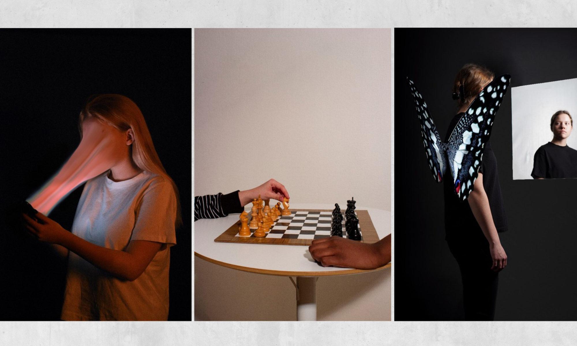 Tre foton: Det första visar ett ansikte som blir uppslukat av en skärm, det andra två händer med olika hudfärg vid ett schackbräde och den tredje en tjej med fjärilsvingar på ryggen framför en spegel.