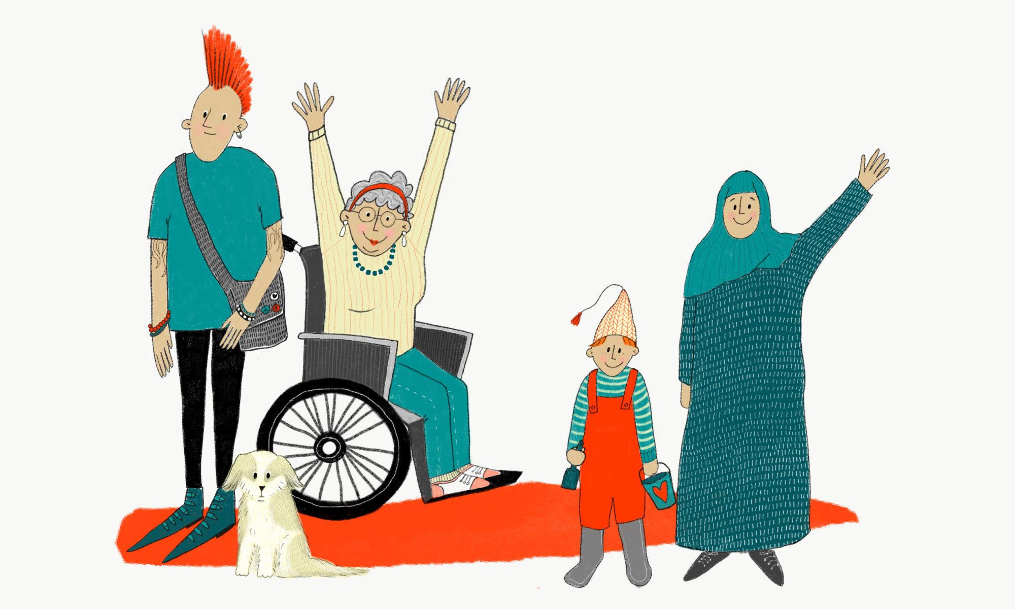En tecknad illustration av en grupp om fyra personer av olika ålder, bakgrund och funktionsförmåga. De ser glada ut
