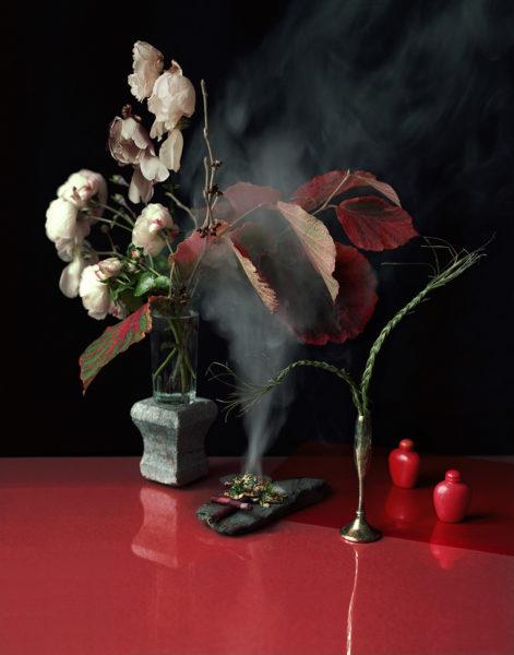 Ett stilleben av blommor och rykande växtdelar står på ett högblankt rött bord