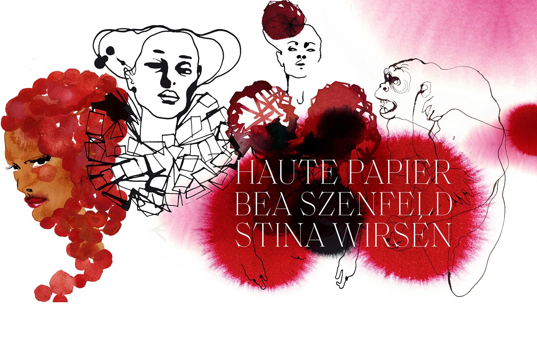 Illustrationer av Stina Wirsén i röda toner