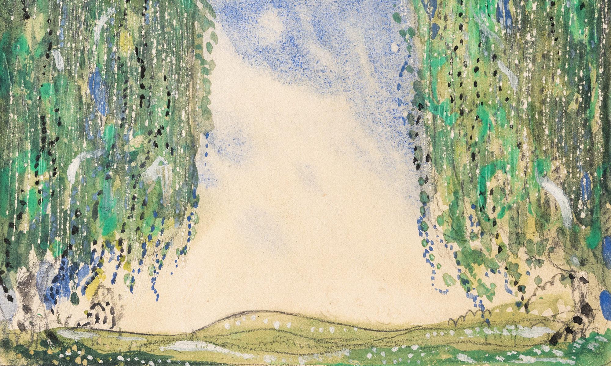 Målning av John Bauer föreställande en glänta