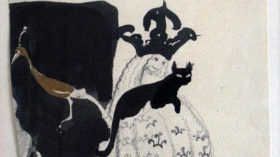 En skiss av John Bauer föreställande en prinsessa med en katt i knät och en fågel bredvid sig