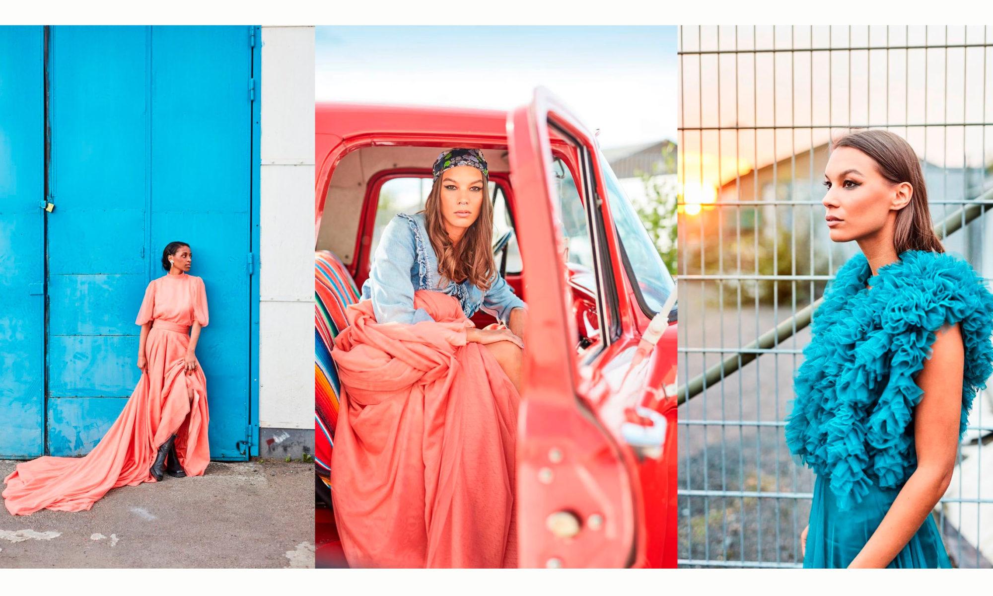 Tre bilder med kvinnor iklädda festklänningar, i turkost samt i korallrött.